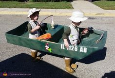 Erin: My 3 year old twins jumped in the boat and went fishing this Halloween! The boat is made from cardboard pieces fitted together with duct tape. I cut holes in. Wagon Halloween Costumes, Wagon Costume, Halloween Costume Contest, Costume Ideas, First Halloween, Couple Halloween, Halloween Kids, Fisherman Costume, Fish Costume
