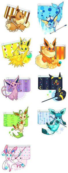 Eevee evolutions, Flareon, Jolteon, Glaceon, Leafeon, Umbreon, Espeon, Sylveon, Vaporeon, cool, Nintendo DS cases, stylus; Pokémon