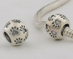 """c2c12563d3bf 925 Sterling Silver European Style Antique Silver """"Dog Paw Print"""" Charms  beads for Pandora"""