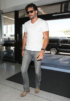 When he made LAX look like a runway show. Joe Manganiello