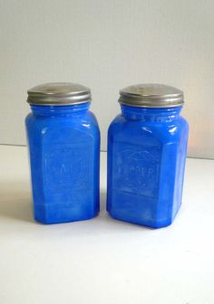 Opaque Blue Milk Glass Salt and Pepper by vintagereinvented, $26.00