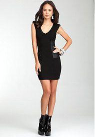 bebe Mixed Fabric V-Neck Dress