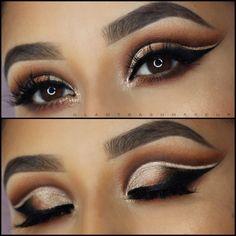 Dramatic cut crease eyeshadow Reddish brown