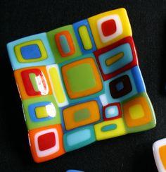 Etsy Transaction - Colorful retro squares fused glass dish, Shiny Hardness