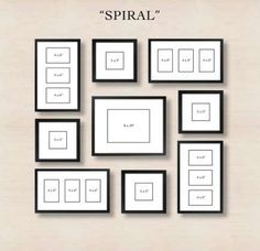 Picture Frames On Wall Layouts. Spiral Gallery Wall Layout Tip Start With Placing The Center Frame And Then Picture Frames On Layouts M Deco Design, Wall Design, Design Blog, Design Design, Design Ideas, Organisation Des Photos, Organization, Photowall Ideas, Images Murales