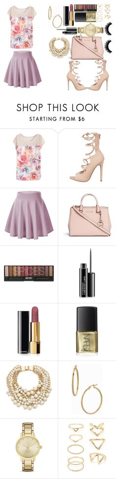 """Pastel Beauty"" by ayannap ❤ liked on Polyvore featuring Michael Kors, MAC Cosmetics, Chanel, Kate Spade, Bony Levy, Forever 21, women's clothing, women's fashion, women and female"