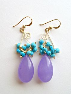 Lavender Aqua Cluster Hoops, Paisley Earrings, Sleeping Beauty Turquoise, Purple Turquiose Dangle Earrings, Lavender Turquoise Cluster. $49.00, via Etsy.