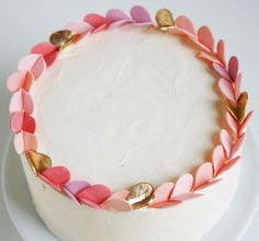 Pink and gold sugar wreath cake