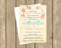 Tea for Two, twins baby shower invitation, girl or boy
