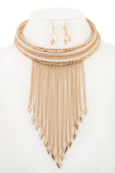 Faux Pearl and Bead with Fringe ChainChoker Necklace Set Wholesale LookBook | Let us find your look!
