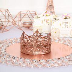 Rose Gold Centerpiece, Crown Centerpiece, Centerpiece Decorations, Birthday Party Decorations, Rose Gold Party Decorations, Birthday Ideas, Gold Cake Topper, Wedding Cake Toppers, Blush Wedding Cakes