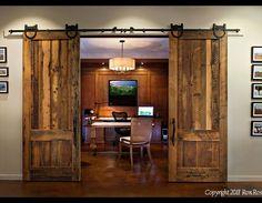 skip sanded two panel reclaimed oak sliding doors
