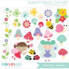 The Fairy Garden Clip Art / Digital Clipart  by MyClipArtStore, $4.50