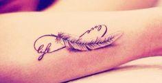 Feder Tattoo auf dem Unterarm Mehr