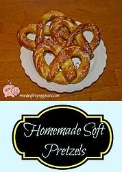Squealin' Good Food: Homemade Soft Pretzels -- You'll never look at soft pretzels from the mall the same after you've tried our Homemade Soft Pretzels recipe! Sooo good and you'll get 2 dozen (or more!) pretzels for the cost of 1-2 of the stand-variety. Cheap and delicious? I'm always in!