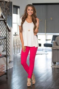 Our skinny bright hot pink jeggings will be the next best thing to your most comfortable pair of leggings! The super stretchy and soft material will keep you comfortable all season long, while the bea