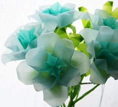 Blue Roses - Origami Paper Flowers, folded with translucent origami paper, Paper Sculpture