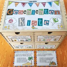 g e s c h i c h t e n k i s t e diese kiste fuer geschichte - WordPress Website Primary Education, Primary School, Foil Pack Dinners, Happy Stories, German Language Learning, Too Cool For School, Kids Store, School Classroom, Kids Learning