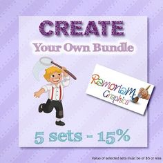 Clip art Bundle set where you have the option of selecting exactly what is bundled! This set gives you a choice of 5 sets and a saving of up to 15%