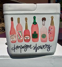 Cute Champagne painted cooler for big little or bachelorette gift Fraternity Coolers, Frat Coolers, Little Presents, Little Gifts, Sorority Life, Sorority Canvas, Sorority Paddles, Sorority Recruitment, Cute Crafts