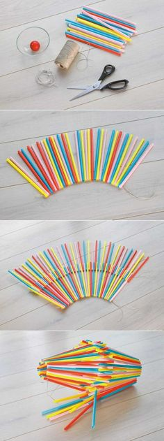 Miniature Striped Candy Straw Polymer Clay Drinking Artificial Rainbow Stick 60x
