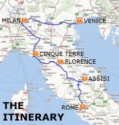 The Best of Italy by Train: A Two Week Itinerary Map