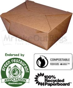 For Corporate Box Lunches - BioPlus TERRA #4 100% Recycled Brown Kraft Take Out Boxes - $0.53/ea