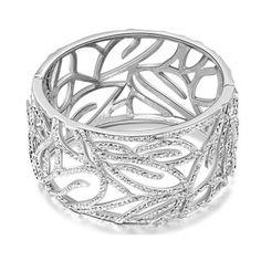 La forêt en blanc » --- Bracelet en cristal (Transparent)  Description: Bracelet scintillant en alliage plaqué or blanc, serti de petits cristaux transparents. Ce bracelet manchette est décoré par plein de branchettes étincelantes. Le design splendide évoque « La forêt en blanc ».
