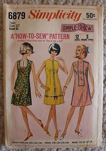Simplicity 6879 Vintage Sewing Pattern 1960s Shift Dress Teen Size Bust 32"