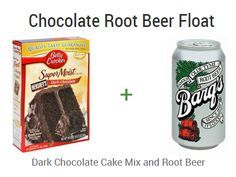 ::Chocolate Root Beer Float:: For an easy treat take a boxed cake mix and a can of soda and make a cake YUM!!! Ingredients: 1 box dark chocolate cake mix 1 12 oz. can root beer soda add together and bake as box directs. (You can also cook your cake in the crock pot on low for about 3 hours or til done.)