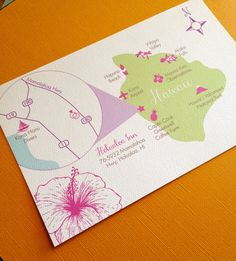 Custom Hawaii Wedding Map by InvitaPaperStudio on Etsy, $45.00