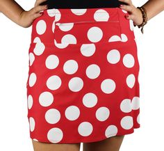 The oversized white polka dots on this red medium-weight running skirt are sure to bring on the smiles! The coordinating red and white polka dot ditzydots anti-ride undershorts complete the look and c