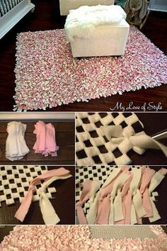 Handmade Home Decor For Your Own Personal Touch – DecorativeAllure Diy Simple, Easy Diy, Handmade Home Decor, Diy Home Decor, Decor Room, Home Crafts, Diy And Crafts, Homemade Rugs, Rag Rug Tutorial