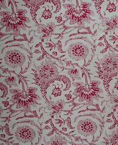 BENNISON FABRICS Injigo linen printed in England red toile new remnant