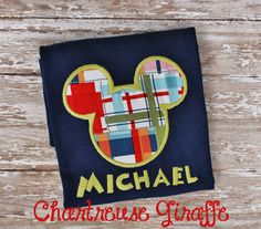 Mickey Mouse Navy Blue shirt with Madras print. Disney Vacation shirt on Etsy, $22.00