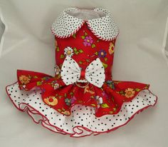 Small dog harness dress. Tutu 5 layer skirt. Red by poshdog, $64.00
