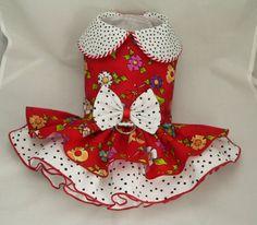 Small dog harness dress. Tutu 5 layer skirt. Red by poshdog, $64.00