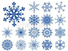 Set of snowflakes isolated on white Royalty Free Stock Vector Art Illustration