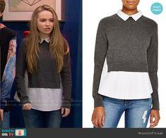 Maya's grey layered sweater on Girl Meets World.  Outfit Details: https://wornontv.net/55763/ #GirlMeetsWorld  Buy it at Bloomingdales: http://wornon.tv/34601