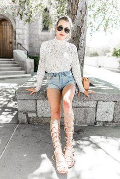 665165a25e Top  hustle and halcyon blogger distressed denim shorts denim shorts lace  blouse white lace white