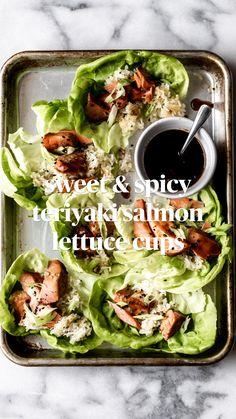 Lettuce Wrap Recipes, Salmon Recipes, Fish Recipes, Seafood Recipes, Asian Recipes, New Recipes, Vegetarian Recipes, Dinner Recipes, Cooking Recipes