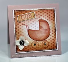 StampingMathilda: Baby Girl Card using Darkroom Door Hello Baby Vol 1 Rubber Stamps and Dots Background Stamp