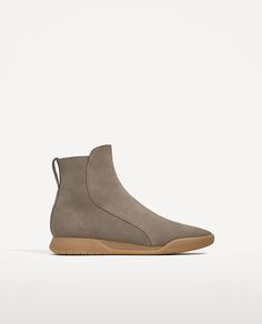 ZARA - MAN - GREY LEATHER BOOT-STYLE SNEAKERS