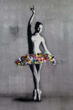 Martin Whatson Spray Painting, Graffiti, Stencils, Portrait, Canvas, Artist, Mood, Style, Ballerina