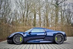 Pick your favorite Porsche 918 Spyder colors, from an electric blue to white with red accents. Bmw Sport, Porsche Sports Car, Porsche Cars, Porsche Models, Porsche 918 Spyder, Porsche Panamera Turbo, Unique Cars, Amazing Cars, Hot Cars