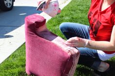 spray dye upholstery - 3 cups hot water and 4 capfuls RIT dye, put in spray bottle and saturate the chair and let it dry in the sun. Wear gloves and do it outside!