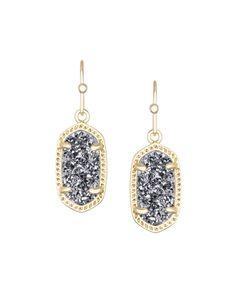Kendra Scott Lee Gold Earrings in Platinum Drusy - Kendra Scott Jewelry