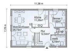 Klassisches Satteldach Haus SH 142 - ScanHaus Marlow | HausbauDirekt Bungalow, Haus Am Hang, Marlow, House Plans, Floor Plans, How To Plan, Gable Roof, Ground Floor, Open House