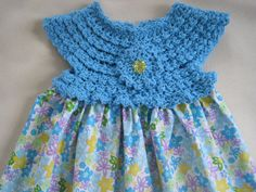 Dress BLUE WITH FLOWERS Crochet Bodice Fabric Skirt by ElsaLAbbe.