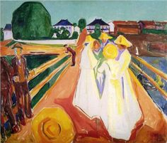 Women on the Bridge -Artist: Edvard Munch Style: Expressionism Genre: genre painting Technique: oil Material: canvas Gallery: The Munch Museum Tags: female-portraits, bridges-and-canals Henri Matisse, Wassily Kandinsky, Oslo, Edward Munch, List Of Paintings, Oil Paintings, Painting Portraits, Karl Schmidt Rottluff, August Macke